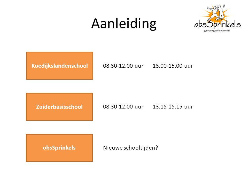 Aanleiding Koedijkslandenschool 08.30-12.00 uur 13.00-15.00 uur Zuiderbasisschool 08.30-12.00 uur 13.15-15.15 uur obsSprinkels Nieuwe schooltijden?