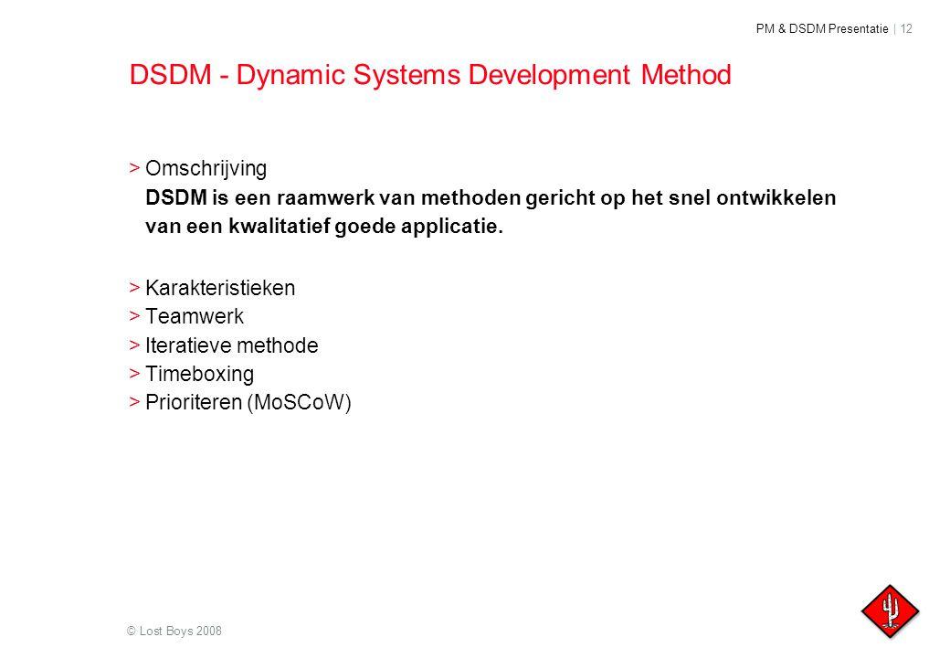 PM & DSDM Presentatie | 12 © Lost Boys 2008 DSDM - Dynamic Systems Development Method >Omschrijving DSDM is een raamwerk van methoden gericht op het s