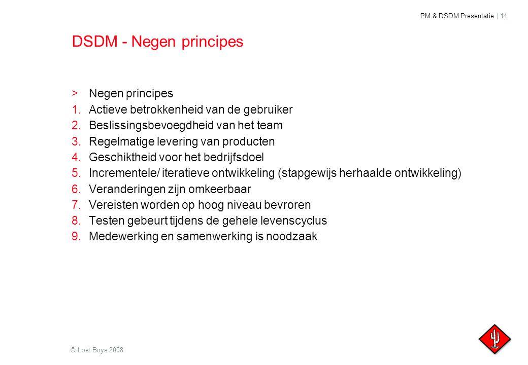 PM & DSDM Presentatie | 14 © Lost Boys 2008 DSDM - Negen principes >Negen principes 1.Actieve betrokkenheid van de gebruiker 2.Beslissingsbevoegdheid