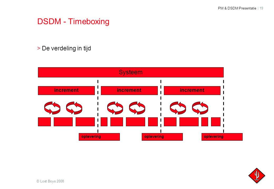 PM & DSDM Presentatie | 19 © Lost Boys 2008 DSDM - Timeboxing >De verdeling in tijd increment Systeem oplevering