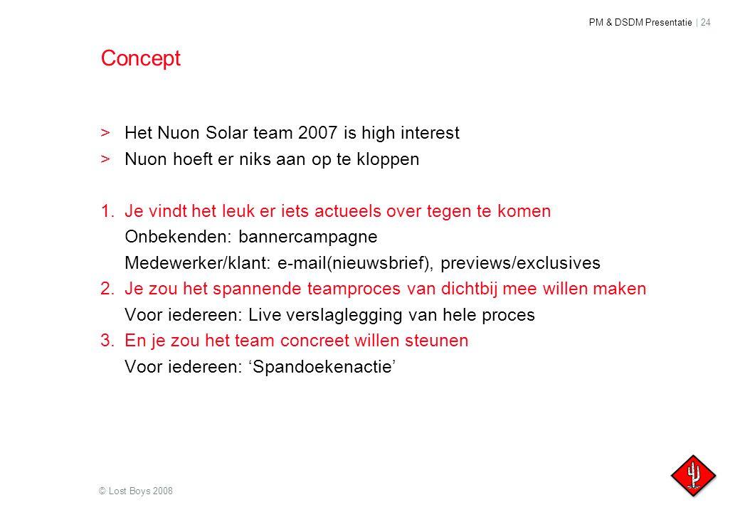 PM & DSDM Presentatie | 24 © Lost Boys 2008 Concept >Het Nuon Solar team 2007 is high interest >Nuon hoeft er niks aan op te kloppen 1.Je vindt het le