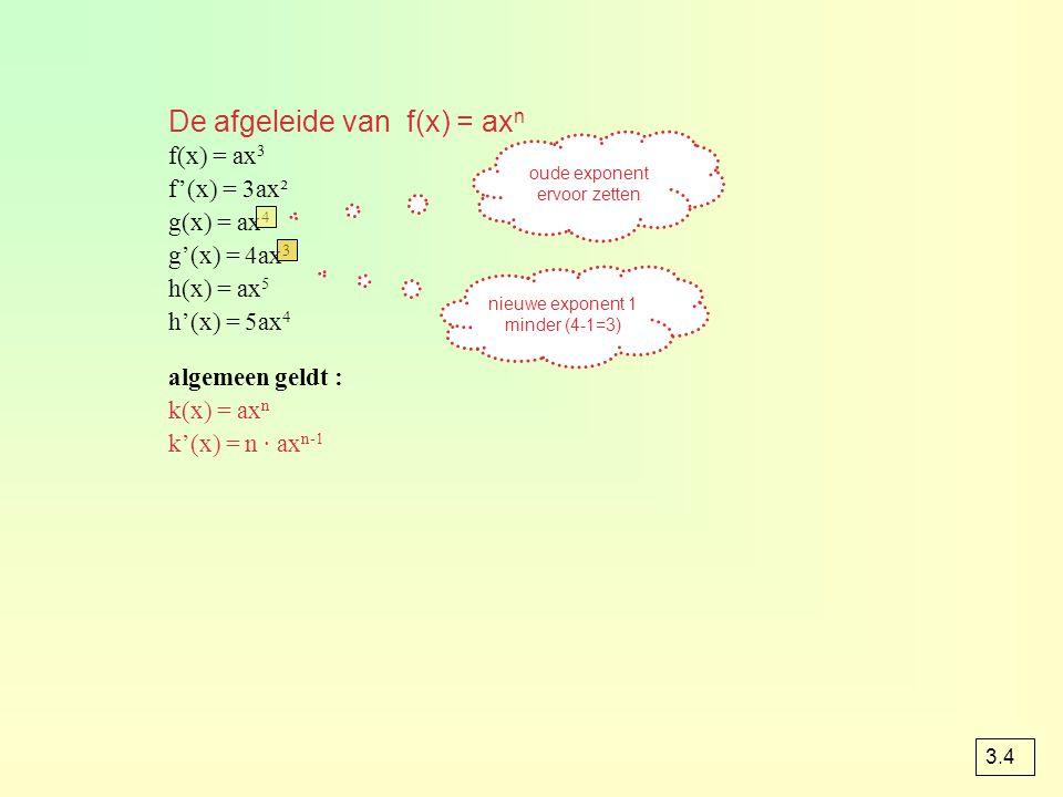 De afgeleide van f(x) = ax n f(x) = ax 3 f'(x) = 3ax² g(x) = ax 4 g'(x) = 4ax 3 h(x) = ax 5 h'(x) = 5ax 4 algemeen geldt : k(x) = ax n k'(x) = n · ax n-1 oude exponent ervoor zetten nieuwe exponent 1 minder (4-1=3) 3.4