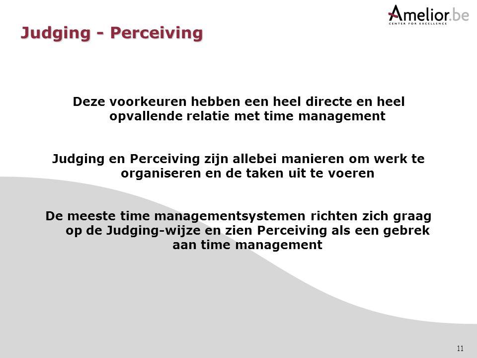 11 Deze voorkeuren hebben een heel directe en heel opvallende relatie met time management Judging en Perceiving zijn allebei manieren om werk te organ