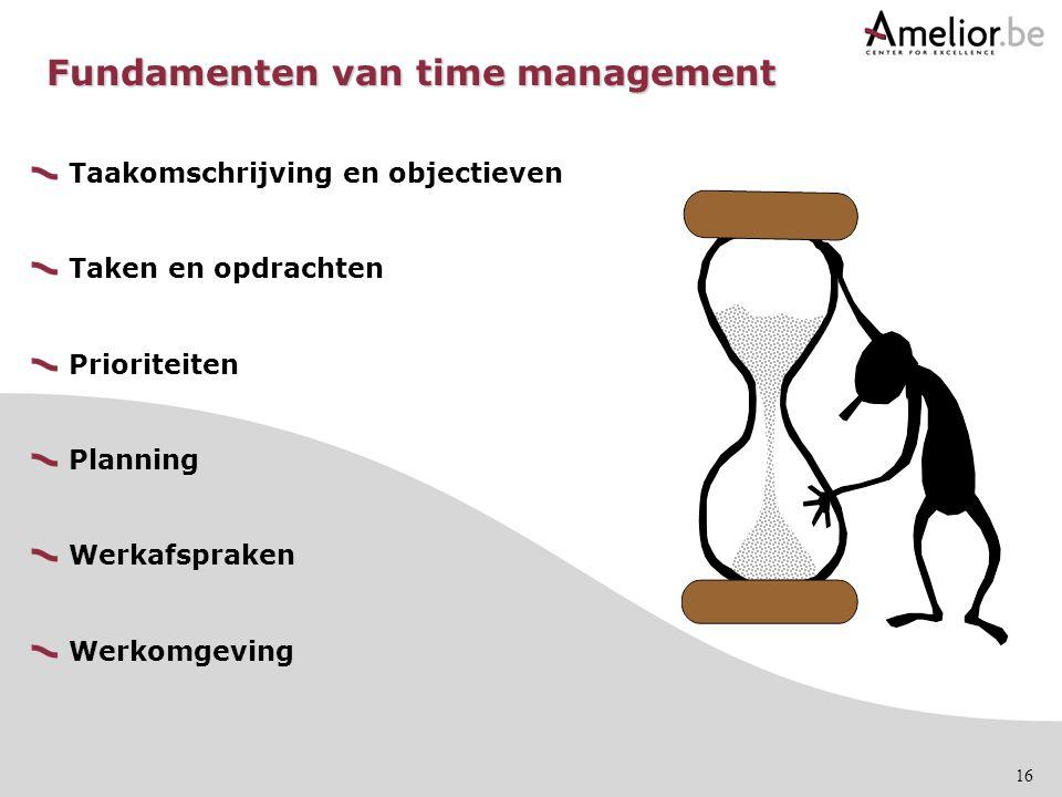 16 Fundamenten van time management Taakomschrijving en objectieven Taken en opdrachten Prioriteiten Planning Werkafspraken Werkomgeving