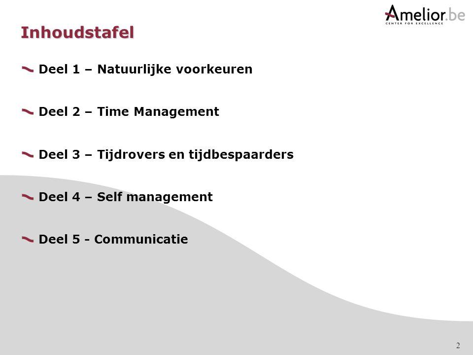 2 Inhoudstafel Deel 1 – Natuurlijke voorkeuren Deel 2 – Time Management Deel 3 – Tijdrovers en tijdbespaarders Deel 4 – Self management Deel 5 - Commu