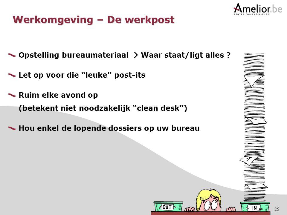 """25 Opstelling bureaumateriaal  Waar staat/ligt alles ? Let op voor die """"leuke"""" post-its Ruim elke avond op (betekent niet noodzakelijk """"clean desk"""")"""