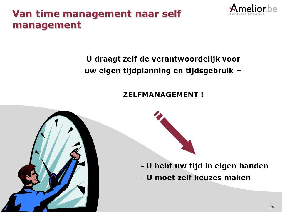 36 U draagt zelf de verantwoordelijk voor uw eigen tijdplanning en tijdsgebruik = ZELFMANAGEMENT ! - U hebt uw tijd in eigen handen - U moet zelf keuz
