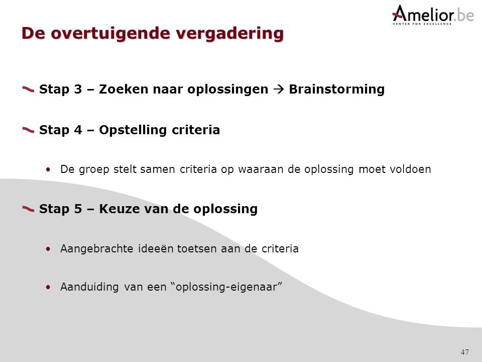 47 De overtuigende vergadering Stap 3 – Zoeken naar oplossingen  Brainstorming Stap 4 – Opstelling criteria De groep stelt samen criteria op waaraan