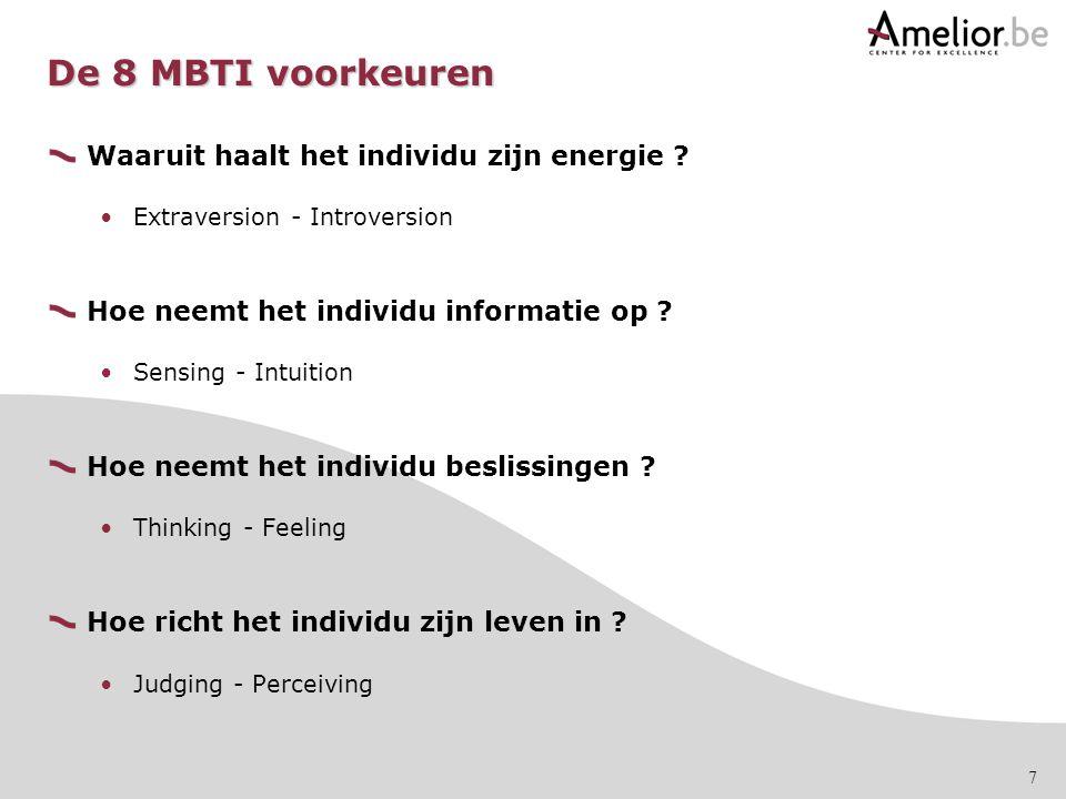 7 De 8 MBTI voorkeuren Waaruit haalt het individu zijn energie ? Extraversion - Introversion Hoe neemt het individu informatie op ? Sensing - Intuitio