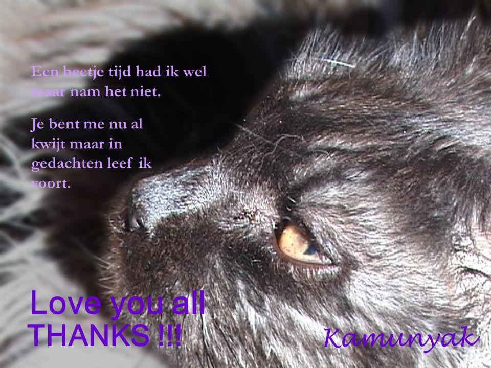 Een beetje tijd had ik wel maar nam het niet. Love you all THANKS !!! Kamunyak Je bent me nu al kwijt maar in gedachten leef ik voort.