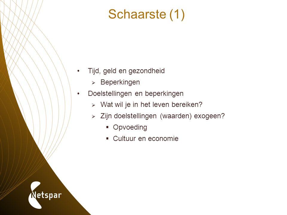 Schaarste (1) Tijd, geld en gezondheid  Beperkingen Doelstellingen en beperkingen  Wat wil je in het leven bereiken?  Zijn doelstellingen (waarden)