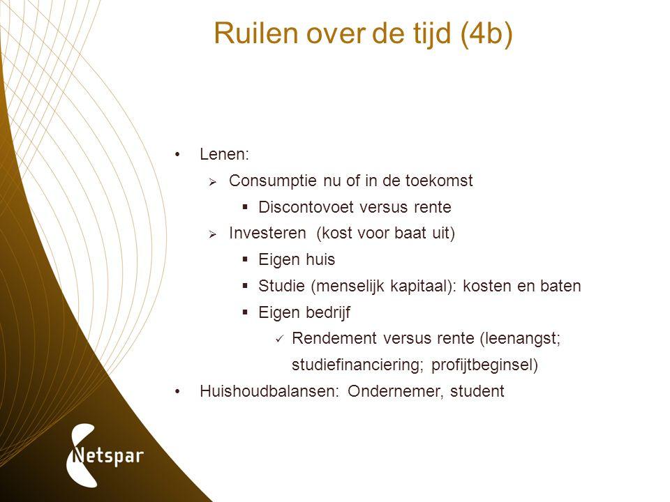 Ruilen over de tijd (4b) Lenen:  Consumptie nu of in de toekomst  Discontovoet versus rente  Investeren (kost voor baat uit)  Eigen huis  Studie