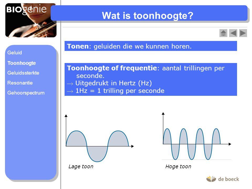 Wat is toonhoogte? Tonen: geluiden die we kunnen horen. Toonhoogte of frequentie: aantal trillingen per seconde.  Uitgedrukt in Hertz (Hz)  1Hz = 1