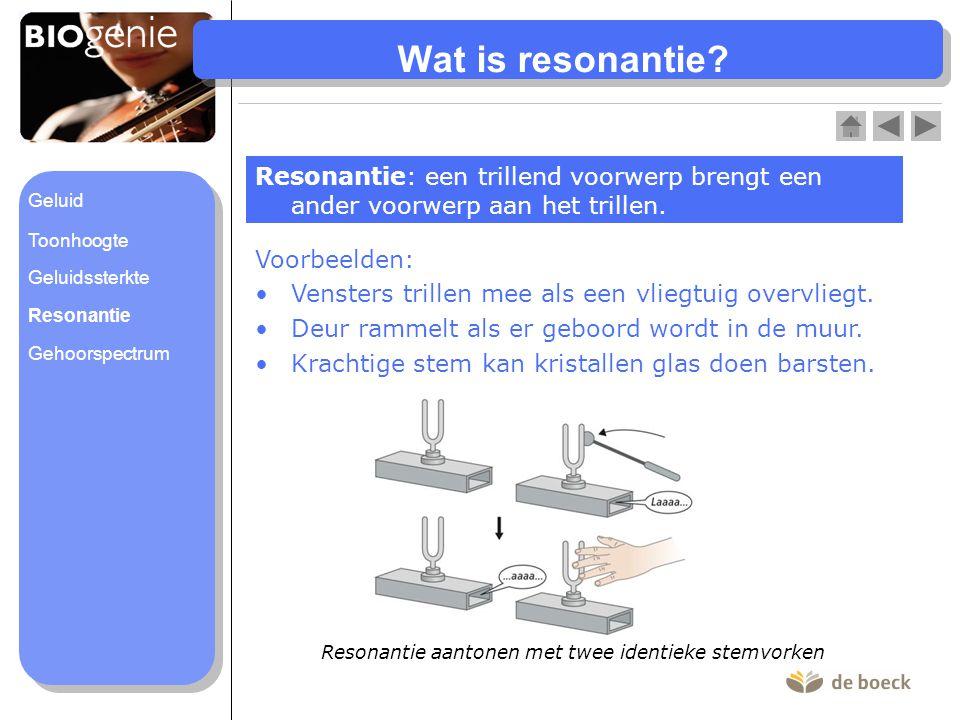 Wat is resonantie? Resonantie: een trillend voorwerp brengt een ander voorwerp aan het trillen. Voorbeelden: Vensters trillen mee als een vliegtuig ov