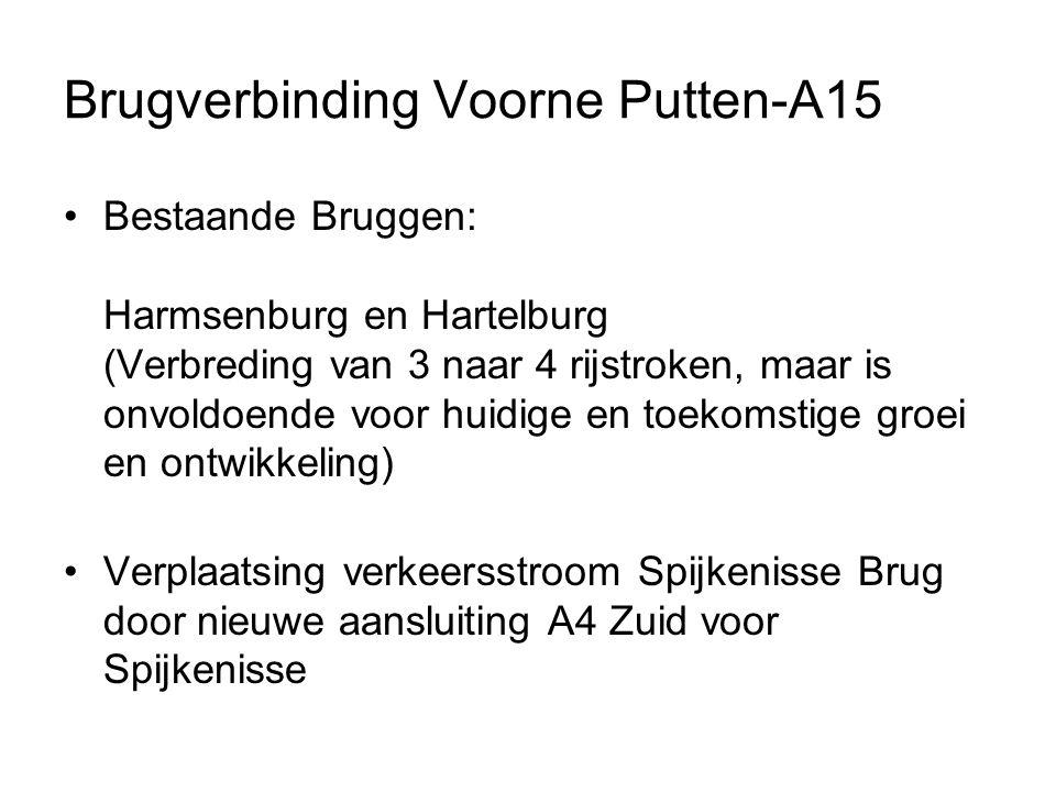 Brugverbinding Voorne Putten-A15 Bestaande Bruggen: Harmsenburg en Hartelburg (Verbreding van 3 naar 4 rijstroken, maar is onvoldoende voor huidige en