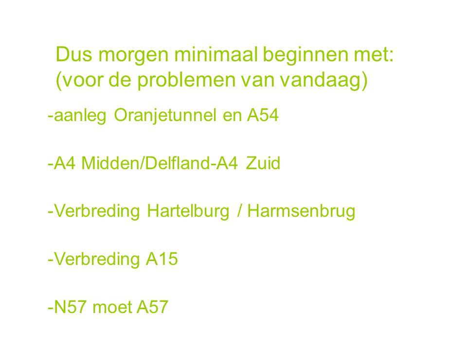 -aanleg Oranjetunnel en A54 -A4 Midden/Delfland-A4 Zuid -Verbreding Hartelburg / Harmsenbrug -Verbreding A15 -N57 moet A57 Dus morgen minimaal beginne
