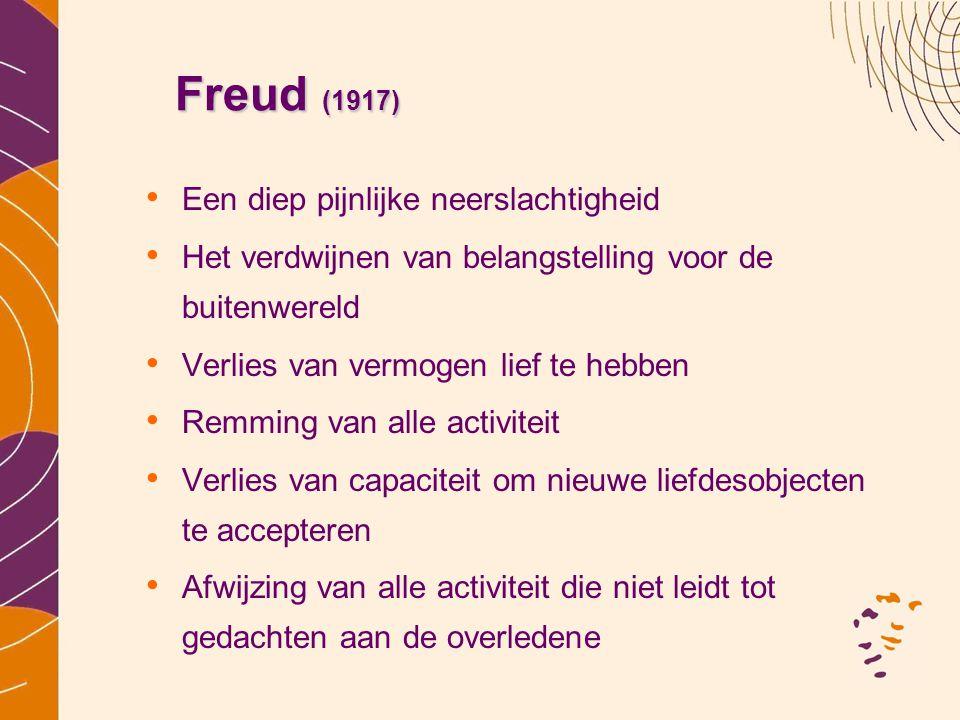 Freud (1917) Freud (1917) Een diep pijnlijke neerslachtigheid Het verdwijnen van belangstelling voor de buitenwereld Verlies van vermogen lief te hebb