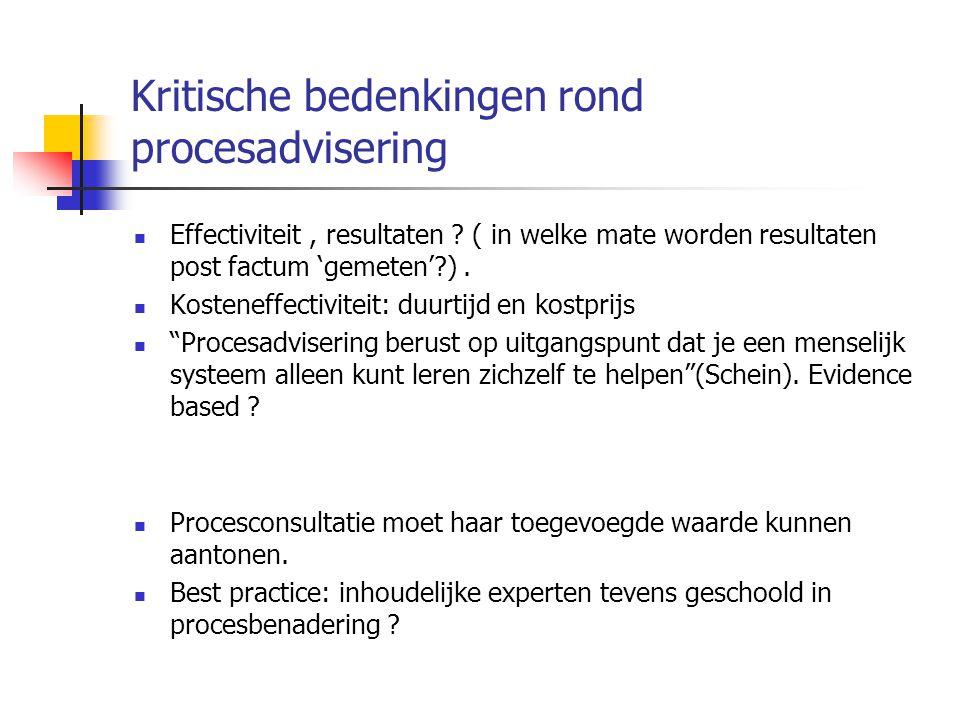 Kritische bedenkingen rond procesadvisering Effectiviteit, resultaten .