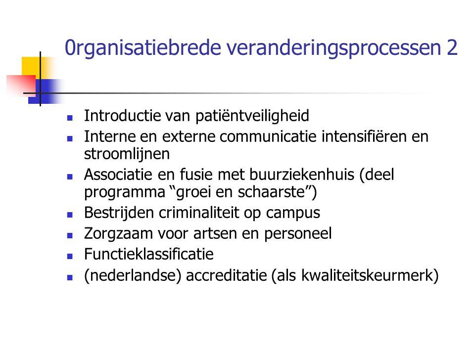 0rganisatiebrede veranderingsprocessen 2 Introductie van patiëntveiligheid Interne en externe communicatie intensifiëren en stroomlijnen Associatie en fusie met buurziekenhuis (deel programma groei en schaarste ) Bestrijden criminaliteit op campus Zorgzaam voor artsen en personeel Functieklassificatie (nederlandse) accreditatie (als kwaliteitskeurmerk)