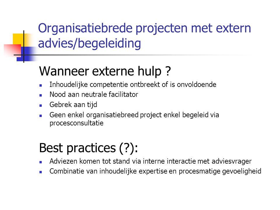 Organisatiebrede projecten met extern advies/begeleiding Wanneer externe hulp .