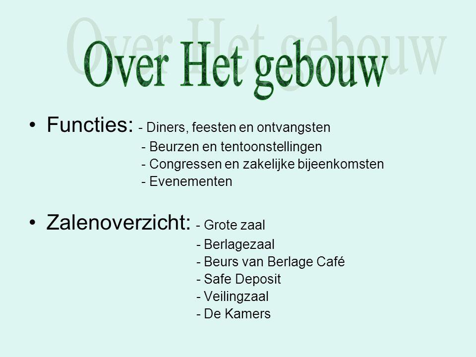 Functies: - Diners, feesten en ontvangsten - Beurzen en tentoonstellingen - Congressen en zakelijke bijeenkomsten - Evenementen Zalenoverzicht: - Grot