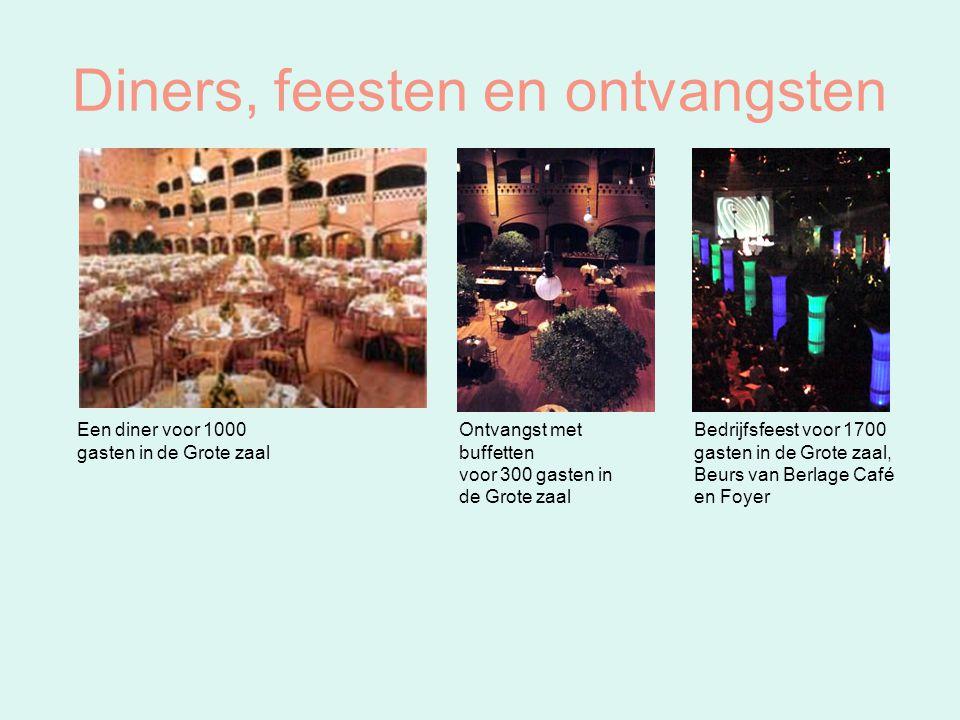 Diners, feesten en ontvangsten Een diner voor 1000 gasten in de Grote zaal Ontvangst met buffetten voor 300 gasten in de Grote zaal Bedrijfsfeest voor