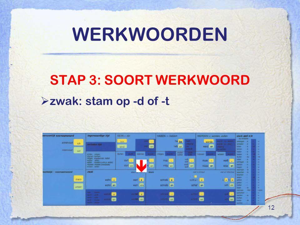 12 WERKWOORDEN STAP 3: SOORT WERKWOORD  zwak: stam op -d of -t