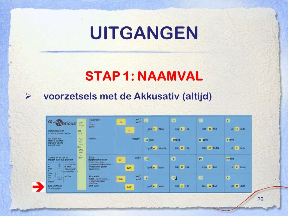 26 UITGANGEN STAP 1: NAAMVAL  voorzetsels met de Akkusativ (altijd)