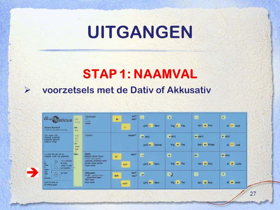 27 UITGANGEN STAP 1: NAAMVAL  voorzetsels met de Dativ of Akkusativ