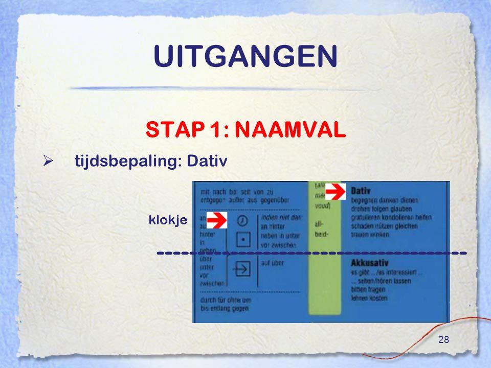 28 UITGANGEN STAP 1: NAAMVAL  tijdsbepaling: Dativ -------------------------------------- klokje