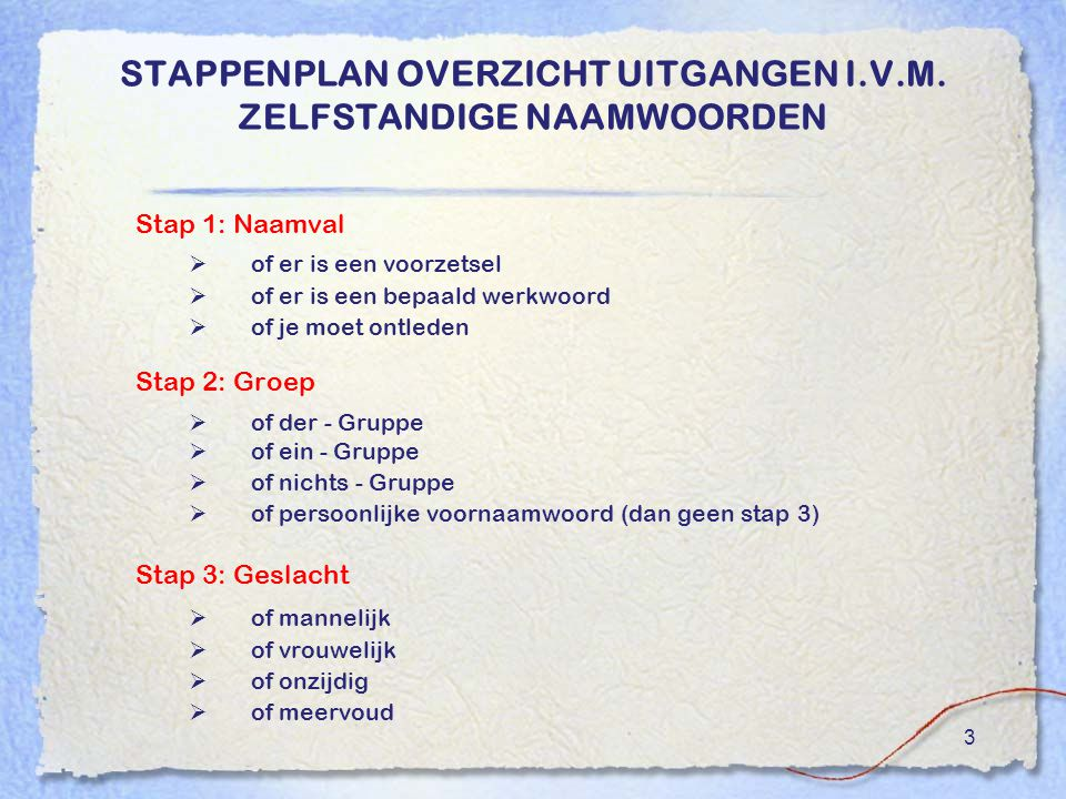 3 STAPPENPLAN OVERZICHT UITGANGEN I.V.M.
