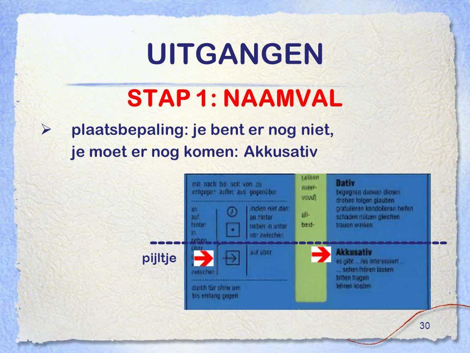 30 UITGANGEN STAP 1: NAAMVAL  plaatsbepaling: je bent er nog niet, je moet er nog komen: Akkusativ -------------------------------------- pijltje