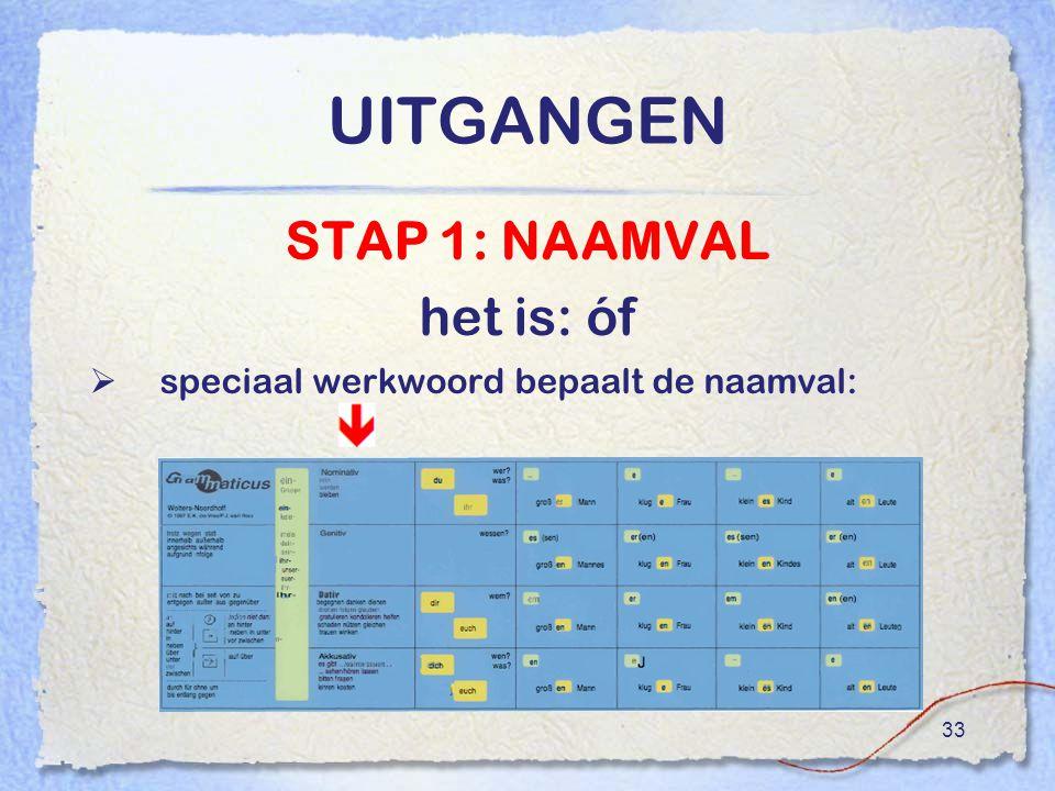 33 UITGANGEN STAP 1: NAAMVAL het is: óf  speciaal werkwoord bepaalt de naamval: