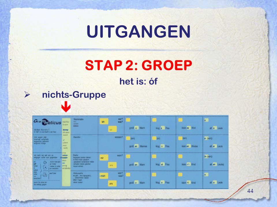 44 UITGANGEN STAP 2: GROEP het is: óf  nichts-Gruppe