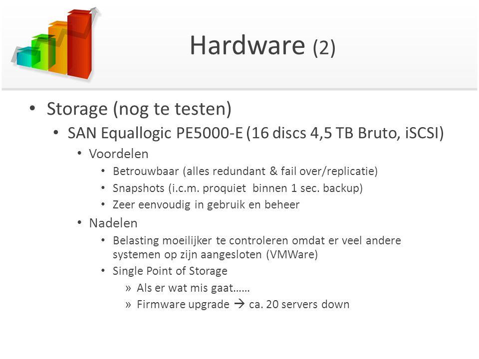 Hardware (2) Storage (nog te testen) SAN Equallogic PE5000-E (16 discs 4,5 TB Bruto, iSCSI) Voordelen Betrouwbaar (alles redundant & fail over/replica