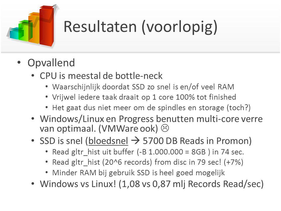 Resultaten (voorlopig) Opvallend CPU is meestal de bottle-neck Waarschijnlijk doordat SSD zo snel is en/of veel RAM Vrijwel iedere taak draait op 1 core 100% tot finished Het gaat dus niet meer om de spindles en storage (toch?) Windows/Linux en Progress benutten multi-core verre van optimaal.