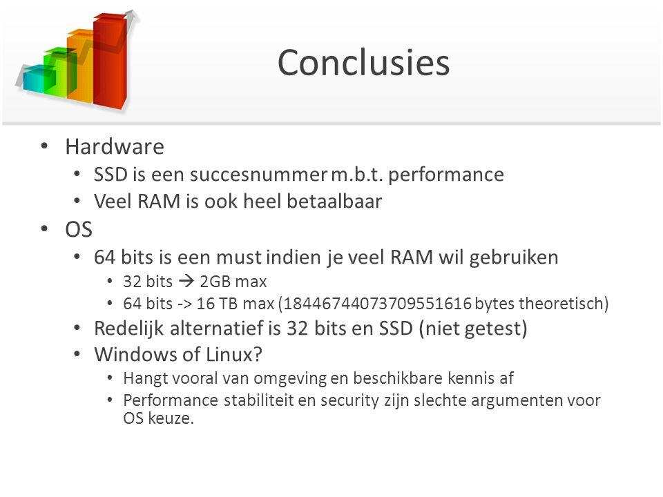 Conclusies Hardware SSD is een succesnummer m.b.t. performance Veel RAM is ook heel betaalbaar OS 64 bits is een must indien je veel RAM wil gebruiken