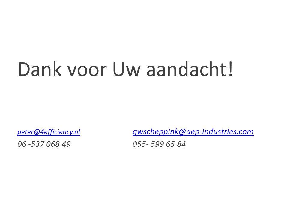 Dank voor Uw aandacht! peter@4efficiency.nl gwscheppink@aep-industries.com 06 -537 068 49 055- 599 65 84