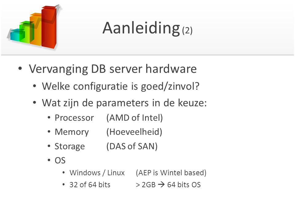Aanleiding (2) Vervanging DB server hardware Welke configuratie is goed/zinvol? Wat zijn de parameters in de keuze: Processor(AMD of Intel) Memory (Ho