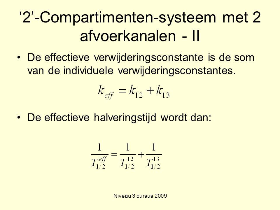 Niveau 3 cursus 2009 '2'-Compartimenten-systeem met 2 afvoerkanalen - II De effectieve verwijderingsconstante is de som van de individuele verwijderingsconstantes.