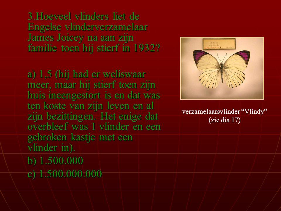 3.Hoeveel vlinders liet de Engelse vlinderverzamelaar James Joicey na aan zijn familie toen hij stierf in 1932.