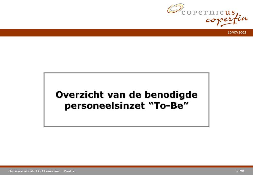 """p. 20Organisatieboek FOD Financiën – Deel 2 10/07/2002 Overzicht van de benodigde personeelsinzet """"To-Be"""""""