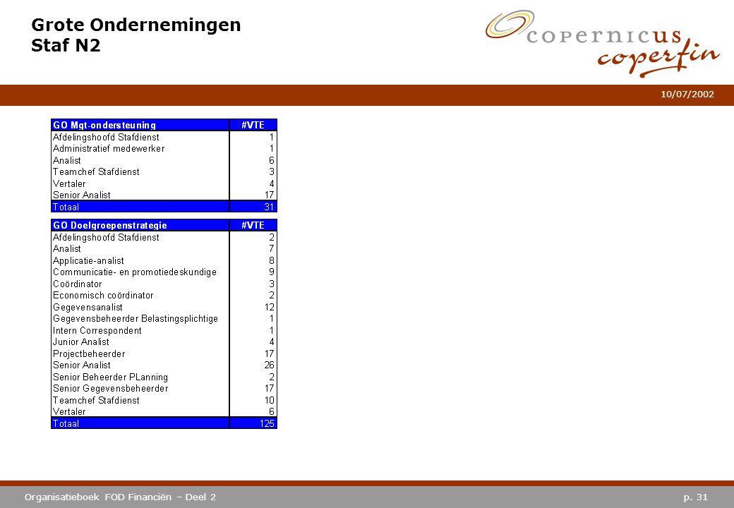 p. 31Organisatieboek FOD Financiën – Deel 2 10/07/2002 Grote Ondernemingen Staf N2