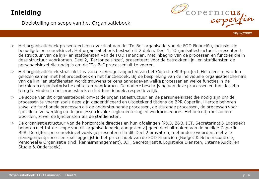 """p. 4Organisatieboek FOD Financiën – Deel 2 10/07/2002 Inleiding >Het organisatieboek presenteert een overzicht van de """"To-Be"""" organisatie van de FOD F"""