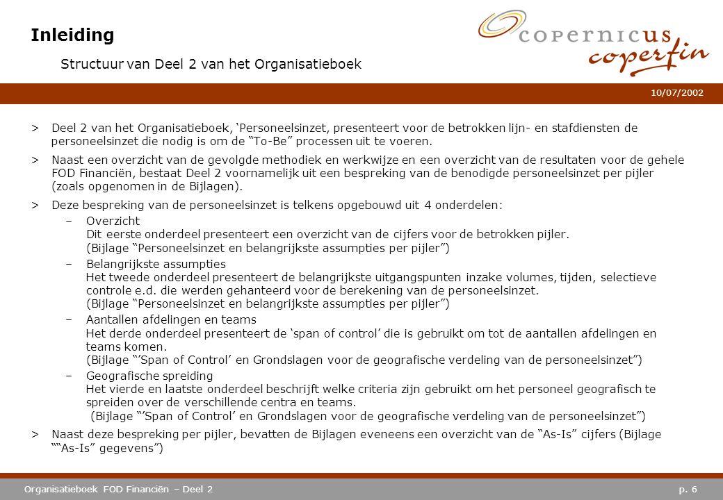 p. 6Organisatieboek FOD Financiën – Deel 2 10/07/2002 Inleiding >Deel 2 van het Organisatieboek, 'Personeelsinzet, presenteert voor de betrokken lijn-