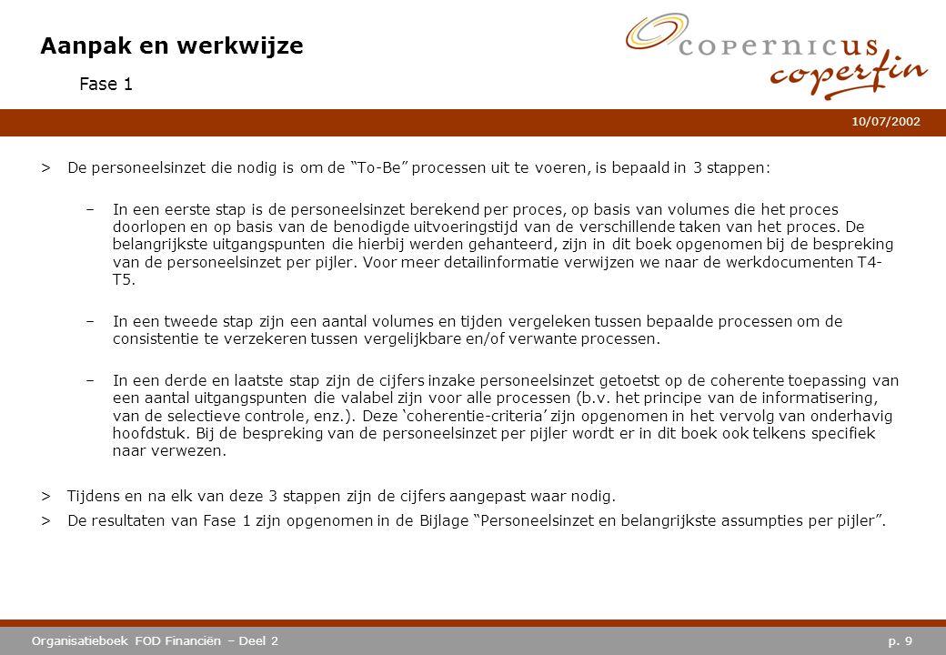 """p. 9Organisatieboek FOD Financiën – Deel 2 10/07/2002 Aanpak en werkwijze >De personeelsinzet die nodig is om de """"To-Be"""" processen uit te voeren, is b"""