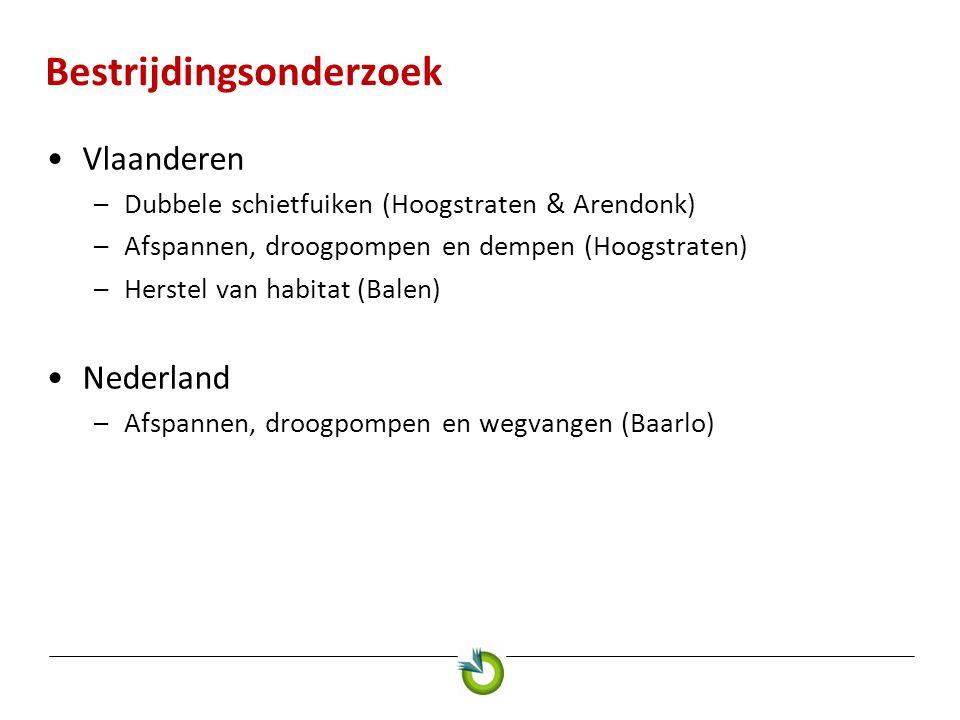 Bestrijdingsonderzoek Vlaanderen –Dubbele schietfuiken (Hoogstraten & Arendonk) –Afspannen, droogpompen en dempen (Hoogstraten) –Herstel van habitat (