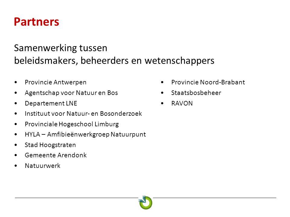 Partners Samenwerking tussen beleidsmakers, beheerders en wetenschappers Provincie Antwerpen Agentschap voor Natuur en Bos Departement LNE Instituut v