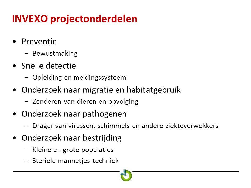 INVEXO projectonderdelen Preventie –Bewustmaking Snelle detectie –Opleiding en meldingssysteem Onderzoek naar migratie en habitatgebruik –Zenderen van