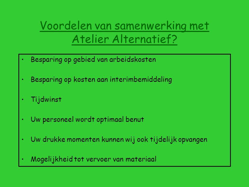 Voordelen van samenwerking met Atelier Alternatief.